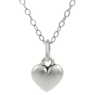 Sterling Silver Childrens Heart Necklace   Silver