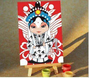 """W&Hstore 13101510 DIY Paint By Number Kits for Kid's,Bejing Opera woman's roles,6""""x4"""" Toys & Games"""