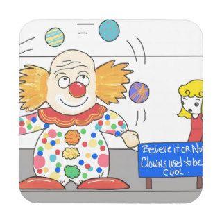 Funny Anti Clown whimsical Clown Joke Humor Drink Coaster