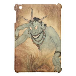Vintage Halloween, Spooky Demon Monster with Horns iPad Mini Cases