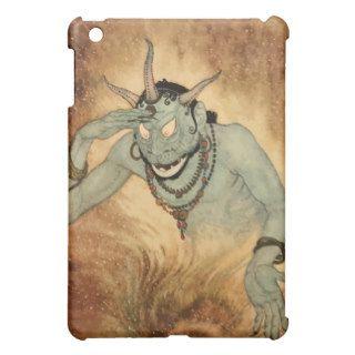 Vintage Halloween, Spooky Demon Monster with Horns iPad Mini Cases