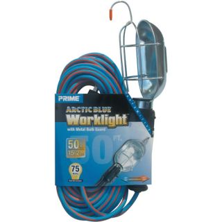 Prime Arctic Blue All Weather 16/3 SJEOW Metal Guard Work Light With Outlet, 50 Feet Tools