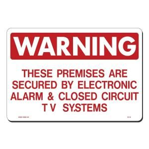 Lynch Sign 14 in. x 10 in. Red on White Plastic Premises Secured by Elec Alarm & Closed Circuit TV System Sign W  12