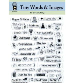 Hot Off the Press Acrylic Stamps 5 1/2 Inch by 7 Inch Sheet, Tiny Words and Images