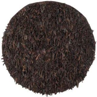 Safavieh Leather Shag Dark Brown 6 ft. x 6 ft. Round Area Rug LSG421D 6R