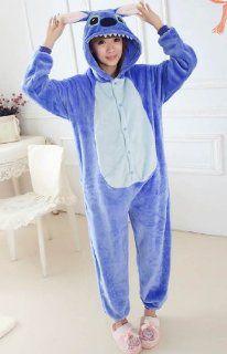 Tier Onesie Pyjama Blau Stich Kostüme Kigurumi Schlafanzug Erwachsene Unisex Tieroutfit tierkostüme Jumpsuit (L(für Höhe 170 179cm)): Sport & Freizeit