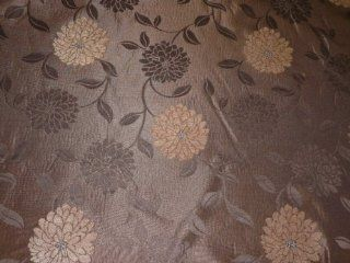 Gold & Brown flowers on Chocolate Brown Upholstery Heavy Curtains Furnishing Brocade Fabric MADRID COLLECTION