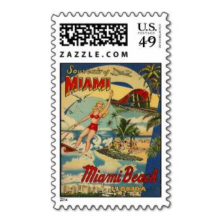 Vintage Miami Beach, Florida, USA   Postage Stamps