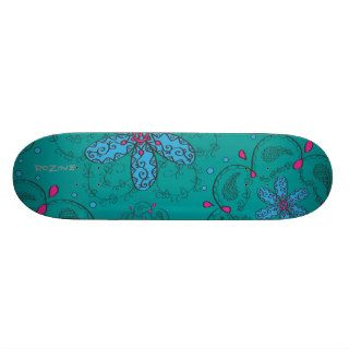 Girly Tribal Tattoo Flowers and Heart Vines Design Skate Board Decks