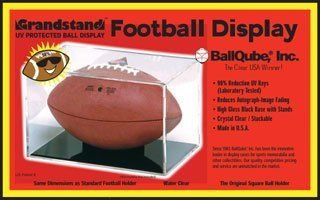 "BallQube UV Protected Full Size Football Display Case   Holder   ""Grand Stand""  Sports Related Display Cases  Sports & Outdoors"