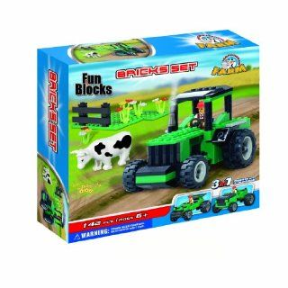 Fun Blocks (Compatible with Lego) Farm Tractor 3 in 1 Brick Set (142 Pieces) Toys & Games