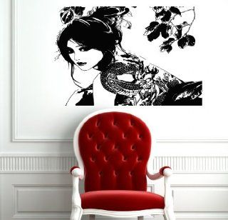 Wall Mural Vinyl Sticker Decal Sexy Japanese Girl and Tattoo with Dragon Co791   Wall Decor Stickers