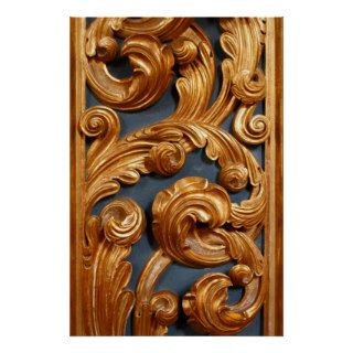 Golden Wood Carving Pattern Print