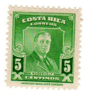 Postage Stamps Costa Rica. One Single 5c Bright Green Roosevelt Stamp Dated 1947, Scott #251.: Everything Else