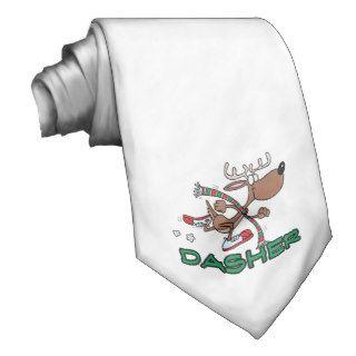 cute running reindeer DASHER cartoon Neckwear