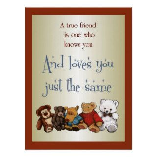 True Friendship: Teddy Bears, Stuffed Toys: Art Poster