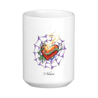 Cool Heart Thorn and Spider Web tattoo Coffee Mugs