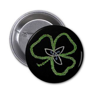 Irish Celtic Shamrock Knot Pinback Buttons