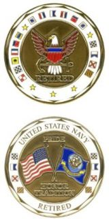 CHALLENGE COIN U.S. NAVY RETIRED Clothing