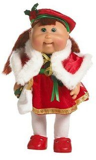 Cabbage Patch Kids Mini Dolls   Holiday Collection   Dark Hair Girl in Red Dress Toys & Games