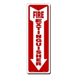 Lynch Sign 4 in. x 12 in. Red on White Plastic Fire Extinguisher with Arrow Down Sign FES   2 SM