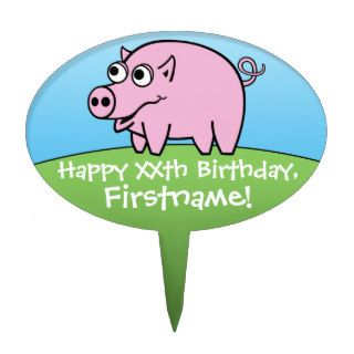 Happy Birthday with Cartoon Pink Pig Cake Topper