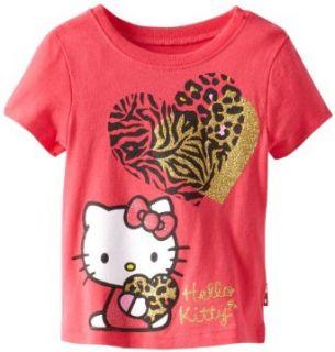 Hello Kitty Girls 2 6X Tee Shirt With Leopard Heart, Azalea, 2T Clothing