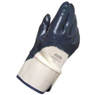 """MAPA Titan 385 Nitrile Heavyweight Glove, Work, 0.055"""" Thickness, 10 1/2"""" Length, Size 8, Blue (Bag of 12 Pairs) Industrial & Scientific"""