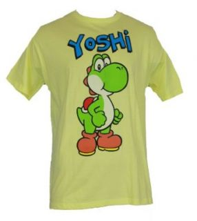 Super Mario Brothers (Nintendo Wii, Galaxy, Kart) Mens T Shirt   Giant Jumping Yoshi on Yellow (Extra Large) Clothing