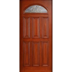 Main Door Mahogany Type Prefinished Cherry Beveled Brass Fanlite Glass Solid Wood Entry Door Slab SH 553 CH B