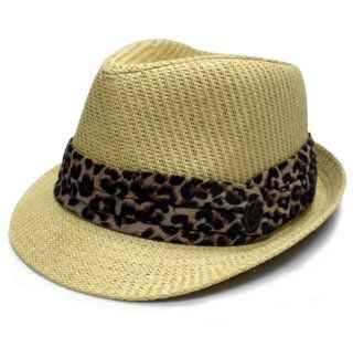City Hunter Pms380 Pamoa Plain Straw with Leopard Trim Summer Fedora   Natural (L/xl Size): Everything Else