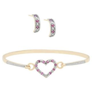 0.75 CT.T.W. Round Cut Ruby and 0.01 CT.T.W. Diamond Accent Heart Jewelry Set