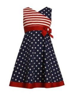 Bonnie Jean Girls 4 6x Memorial Day 4th of July Flag Dress (4) Clothing