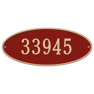Whitehall Products Madison Oval Red/Gold Estate Wall One Line Address Plaque 4009RG