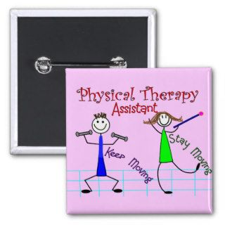 Physical Therapy Assistant Stick People Design Buttons