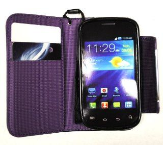 Purple Deluxe Folio Wallet Pouch Leather Case Multifunctional   Pockets to Keep Your Cards Driving License Bills & Belongings Safe for Samsung illusion I110 Samsung Galaxy Proclaim S720: Cell Phones & Accessories