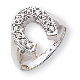14k White Gold G H SI2 Quality Diamond Mens Horseshoe ring. Carat Wt  0.212ct: Rings