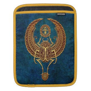 Winged Egyptian Scarab Beetle with Ankh   blue Sleeve For iPads