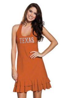 NCAA Texas Longhorns Ladies Burnt Orange Ruffle Racerback Dress (Small)  Sports Fan T Shirts  Clothing