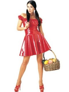 Sexy Red Riding Hood Vinyl Dress Theatre Costumes Sizes Large Clothing