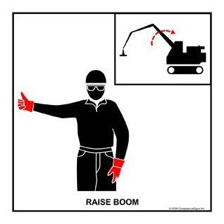 Raise Boom Label CRANE 446 Crane Hand Signals : Business And Store Signs : Office Products