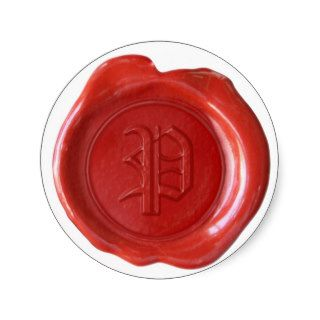 Wax Seal Monogram   Red   Old English   Letter P Round Stickers