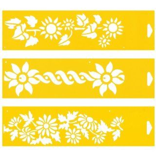 "Set of 3   12"" x 3"" Reusable Flexible Plastic Stencils for Cake Design Decorating Wall Home Furniture Fabric Canvas Decorations Airbrush Drawing Drafting Template   Sunflowers Flowers Ribbon Wild Daisy"