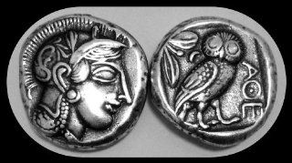 "For Percy Jackson Fans! ""Mark of Athena"" Most Famous Coin Reproduction of Athena & Her Owl. Athena is the Goddess of wisdom. (455 449 B.C.) (24 mm, 11 g) Heavy Silver Plate : Collectible Coins : Everything Else"