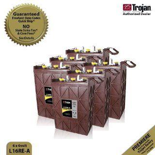 6x Trojan L16RE B Flooded Lead Acid 6V Deep Cycle Battery 370Ah  Solar Panels  Patio, Lawn & Garden