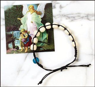 Guardian Angel Rosary Bracelet with Prayer Card and Velour Bag Free Cross Bookmark Included: Everything Else
