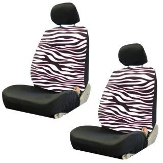 White Zebra Animal Print Safari w/ Black Stripes & Pink Trim Car Truck SUV Low Back Bucket Seat Covers   PAIR Automotive