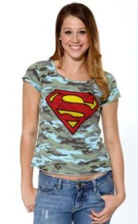 Superman Shield Logo T Shirt DC Comics Blue Camo Juniors (Small): Movie And Tv Fan T Shirts: Clothing