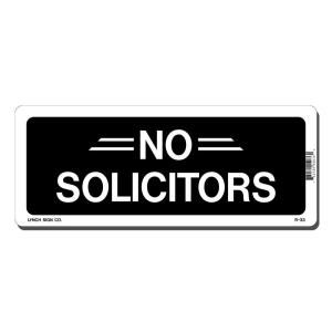 Lynch Sign 10 in. x 4 in. Black on White Plastic No Solicitors Sign R  33