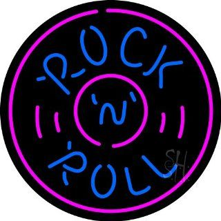 """Rock and Roll Record Neon Sign 26"""" Tall x 26"""" Wide x 3"""" Deep  Business And Store Signs"""